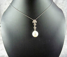 WONDERFUL 18CT K WHITE GOLD SOUTH SEA PEARL AND DIAMOND PENDANT WITH APPRAISAL