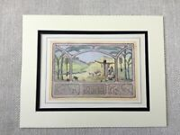 1930 Art Nouveau Print Jewish Middle Eastern Landscape Hebrew Text Judaica