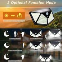 100 LED Solar Power Wandleuchte Bewegungsmelder Wasserdichte Gartenlampe E8M4