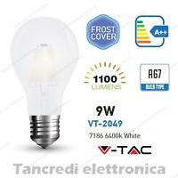 Lampadina led V-TAC 9W E27 bianco freddo 6400K VT-2049 A67 bianca filamento bulb
