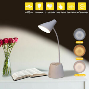 USB Rechargeable LED Desk Bedside Reading Lamp Table Touch Dimmable Night Light