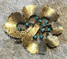 Vintage 14k Gold Turquoise Flower Brooch Pin