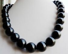 Gemstone Round Necklace 18''Aaa Natural 10mm Black Agate Onyx