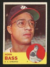 1963 Topps BASEBALL SEMI-HIGH #461 NORM BASS EX+/EXMINT KC ATHLETICS (002)