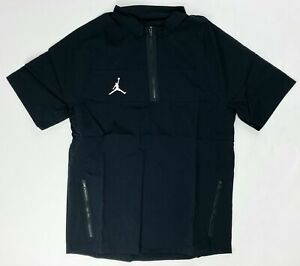 Nike Jordan Woven Short Sleeve Hot 1/2 Zip Jacket Pockets Men's M Black CD2220