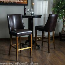 Set of 2 Elegant Design Brown Leather Bar Stools