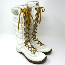 HH Helly Hansen Womens White Leather Winter Gum Sole Fur Lined Boots Size 6