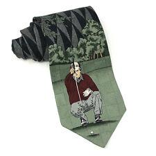 Pebble Beach Neckwear Silk Tie Golf Golfing Necktie Black Green Made in USA