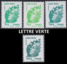 2011 FRANCE N°4593/4596** LETTRE VERTE FACIALE (valeur poste) ⩽ 9€72 TTB MNH
