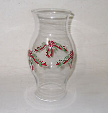 Poinsettia Hurricane Chimney Globe Christmas Clear Glass Holiday Pine Ribbon 8.5