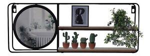 Metal Floating Shelf Black Metal Wall Rack With Mirror Wall Mounting 50cm Shelf
