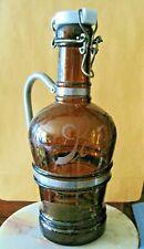 Rare 1890 Pre Prohibition Schlitz Beer Bottle Handle Pitcher Glass Porcelian Top