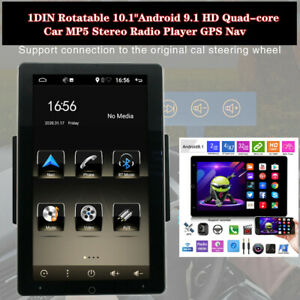 """1DIN Rotatable 10.1""""Android 9.1 HD Quad-core GPS FM Car MP5 Stereo Radio Player"""