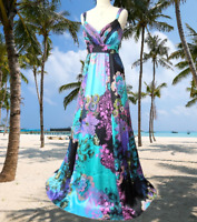 MONSOON* STUNNING FANTASIA VIBRANT FLORAL DESIGN  MAXI EVENING DRESS UK 14 VGC