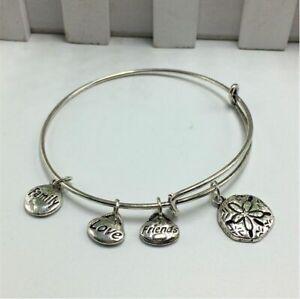 1Pcs Women'S Silver Tone Expandable Wire Charm With Pendant Bracelet Bangle