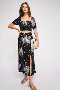 Free People Bare With Me Black Floral Skirt Set-$148 MSRP