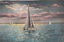 """*Sail Boat Postcard-""""Off For A Moonlight Sail"""" /See Desc./ (U1-841)"""