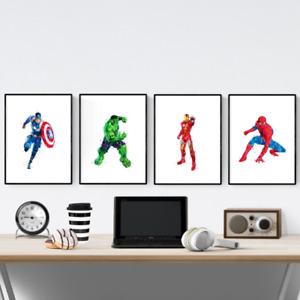 Marvel Avengers Superhero Set Of 4 Watercolour Prints Pictures Wall Art Poster