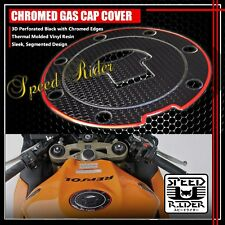 FOR 03-16 CBR-1000RR/600RR PERFORATE BLACK&CHROME RED GAS CAP FUEL LID COVER PAD