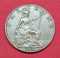 Great Britain Coin , Farthing 1921 , George V , XF+ , KM# 808