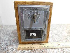 Antique Vint #27 Reclaimed oak barn wood Post Office Door Mail Box Postal Bank