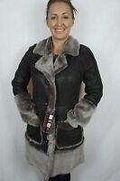 Brown 100% Sheepskin Shearling Leather Lambskin Coat Jacket with FREE hat XS-6XL
