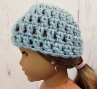 "Cute Turquoise  Crocheted Hat fits American Girl Dolls 18"" Dolls"