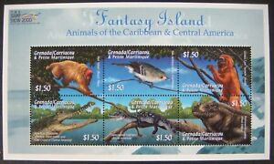 2000 GRENADA GRENADINES ANIMALS CARIBBEAN STAMPS SHEET BIRD LIZARD MONKEY APE
