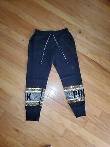 Victoria's Secret PINK black Sweatpants Joggers Bling Sequins Campus ladies sz M