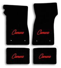 1967-1969 Chevrolet Camaro 4pc Black Carpet Floor Mats with Red Camaro Logo