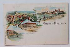 26969 Litho AK Gruß aus Breisach Gasthaus z. Salmen Eckardsberg Münsterberg 1898