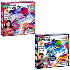Kit de Tatuaje Aerógrafo de los niños para niños diversión Plantillas Tatuaje Cepillo de Aire Art & Craft