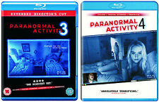 NEW Paranormal Activity 3 & 4 Blu Ray UK R2 PAL Set Extended + Theatrical Horror