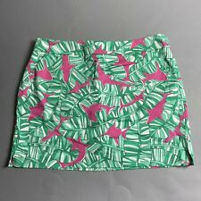 NWT Loudmouth Banana Beach Golf Skirt Skort Womens 14 US Shark Print Pink Green
