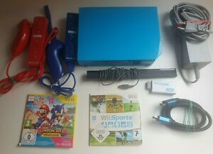 Nintendo Wii Konsole Blau | 2 Motion Plus Controller | Mario & Sonic + Sports