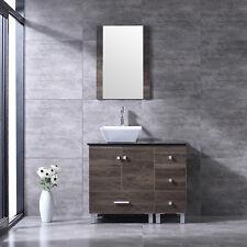 "36"" Bathroom Vanity Wood Cabinet White Square Ceramic Sink w/Mirror Modern Combo"
