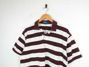 Mens RALPH LAUREN Maroon White Striped Short Sleeve Polo Shirt Top L - Stained