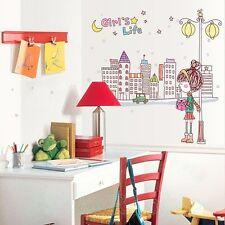 LITTLE GIRL LAMPPOST ROOM NEW WALL ART STICKERS DIY VINYL DECOR HOME DECORATION