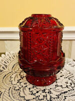 Vintage Indiana Fairy Candle Light Lamp Cut Glass Flashed Ruby Red Stars & Bars