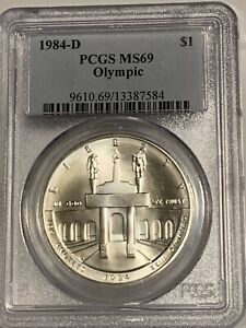 1984-D LOS ANGLES OLYMPICS UNCIRCULATED  COMMEMORATIVE SILVER DOLLAR PCGS MS69
