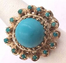 14k Yellow Gold Turquoise Cocktail Ring Size 7 9.2gr