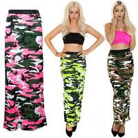 New Womens Ladies Camouflage Camo Print Long Gypsy Maxi Skirt Size S M L XL 8 14