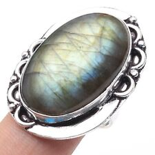 Fashion Ring Us 7.5, S-16722 Fiery Labradorite & 925 Silver Plated