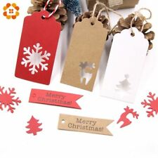 Christmas Gift Paper Tags Handmade 50PCS Present Kraft Hang Labels Thank You