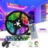 5M 16.4ft 5050 RGB LED Strip Light Color Flexible SMD 44 Key Remote 12V Power