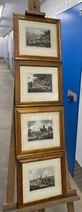 Four Maple Wood Framed Hunting Etchings, Published 1799 by Howitts