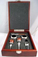 Brookstone wine tools in Mahogany finished  storage box