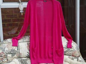 Vince Fuchsia  Pink 100%  Cashmere Long Cardigan M