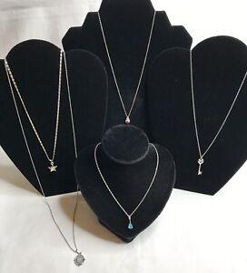 Lot 5 Vintage Estate Necklaces with Pendants Silvertone Variety Stones Star Key