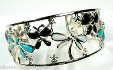 Multicolor Inlay Solid 925 Sterling Silver Butterfly Dragonfly Cuff Bracelet